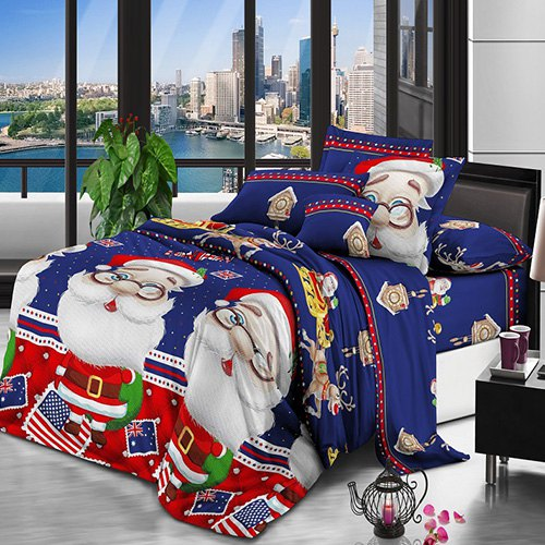 Christmas Happy Santa Claus Happy Gift 3D Bed Home Textile Bedding 3pcs