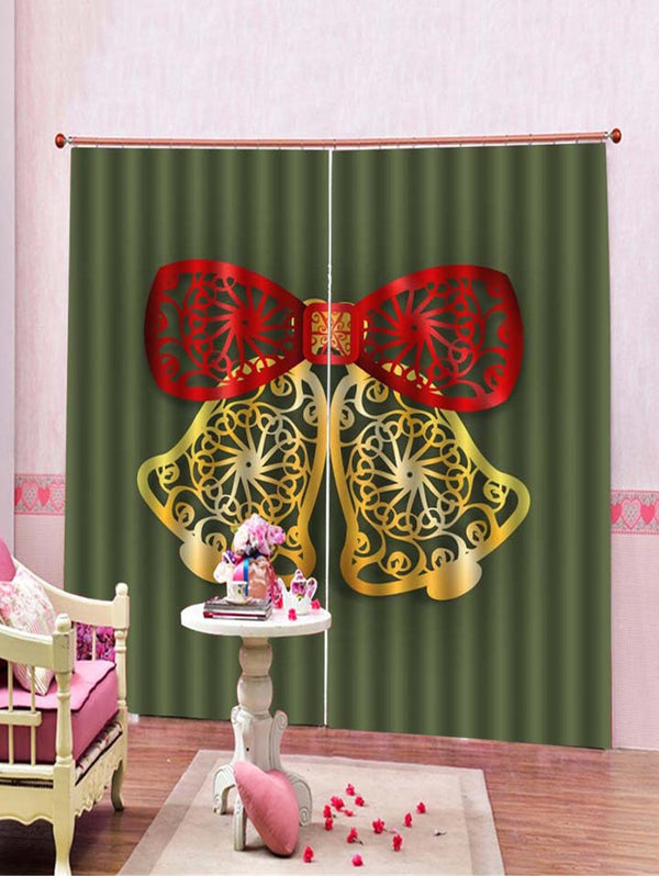 2PCS Christmas Bell Window Curtains