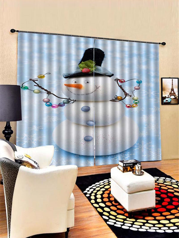 2PCS Funny Christmas Snowman Pattern Window Curtains
