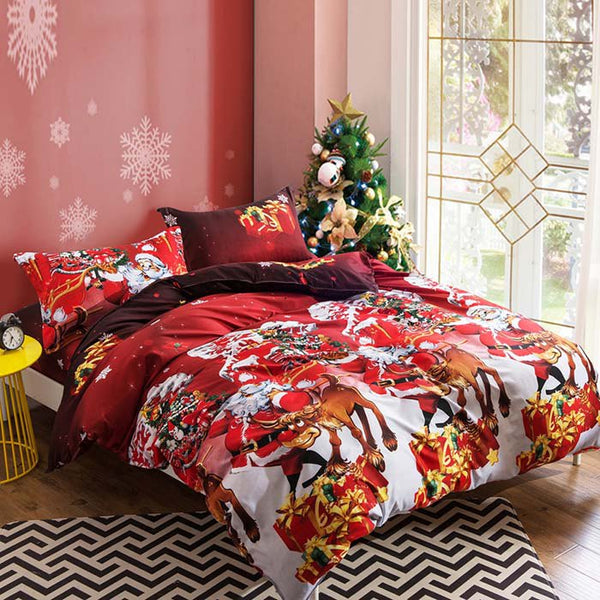 Christmas Santa Happy Gifts 3D Bed Four Piece Set