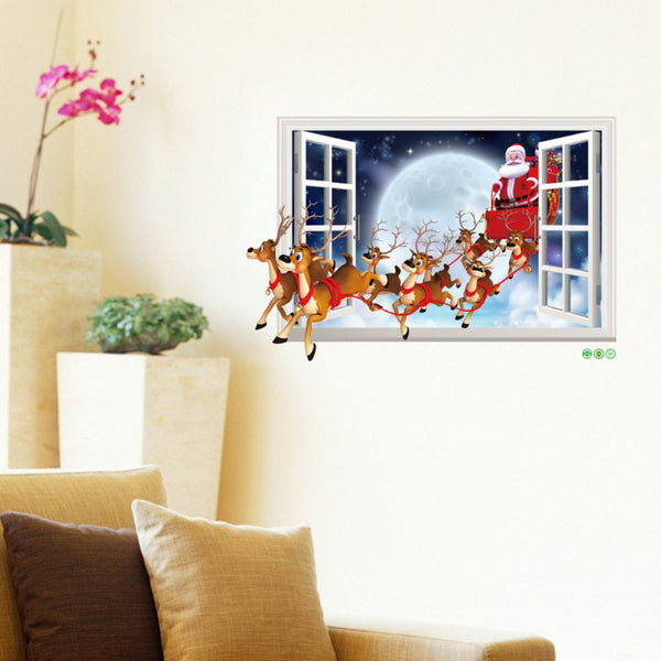 Windows Santa Claus Sticker Christmas Decorations Removeable Home Sticker
