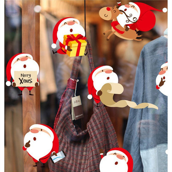 Christmas Cartoon Santa Claus Christmas Sticker Glass Window Sticker Removable
