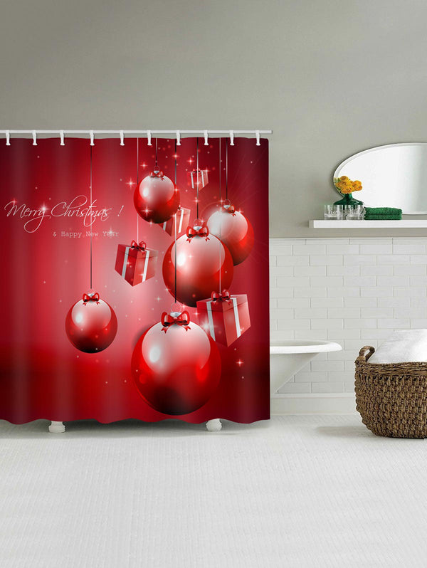 Christmas Gift Box Pattern Waterproof Bathroom Shower Curtain