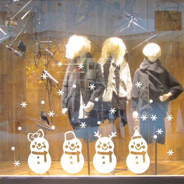 Christmas Cartoon 4 Snowmen Christmas Glass Window Stickers Can Be Removed