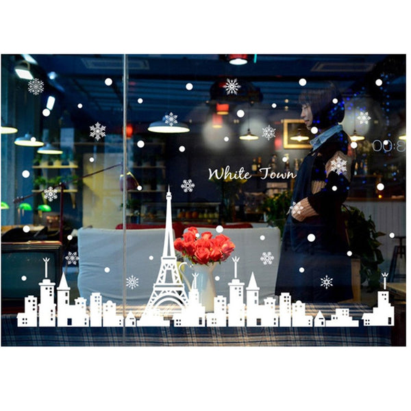Merry Christmas City Snow Scene Snow Glass Window Sticker Removable