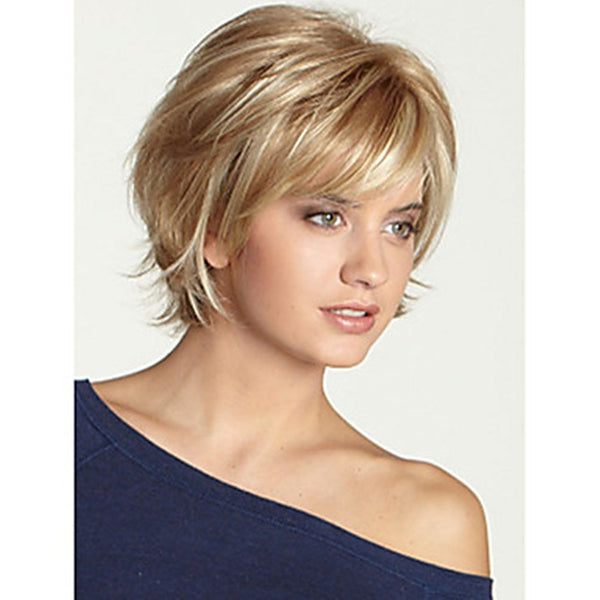 Human Hair Capless Wigs Short Wavy Bob Haircut Blonde Wig