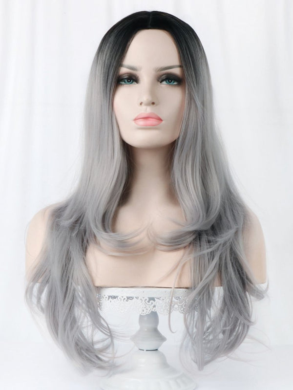 Long Ombre Middle Part Layer Slightly Curly Synthetic Wig
