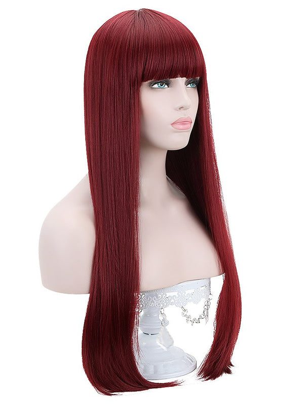 Neat Bang Long Straight Party Synthetic Wig