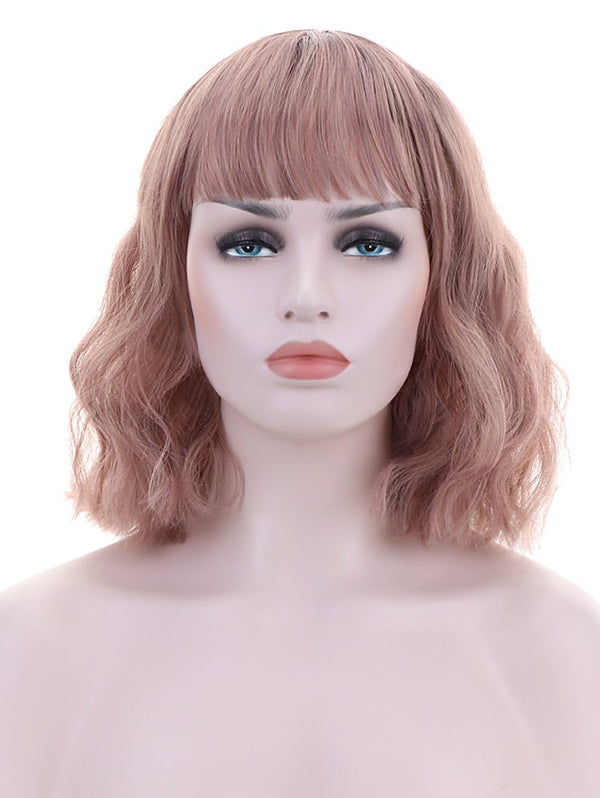 Neat Bang Short Natural Wavy Party Synthetic Wig