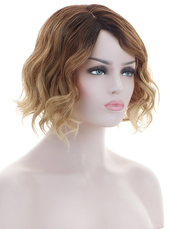 Inclined Bang Short Natural Wavy Colormix Synthetic Wig