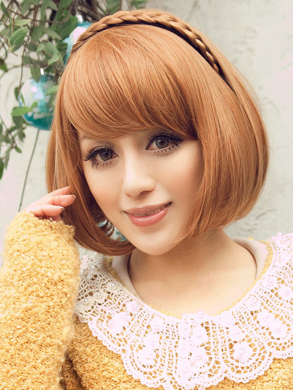 Medium Inclined Fringe Straight Bob Party Synthetic Wig