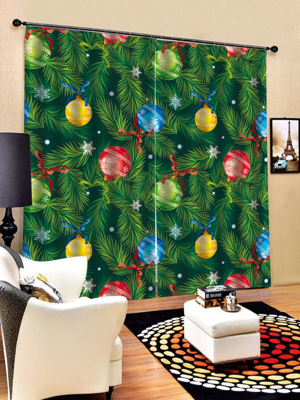 2PCS Christmas Snowflake Ball Print Window Curtains