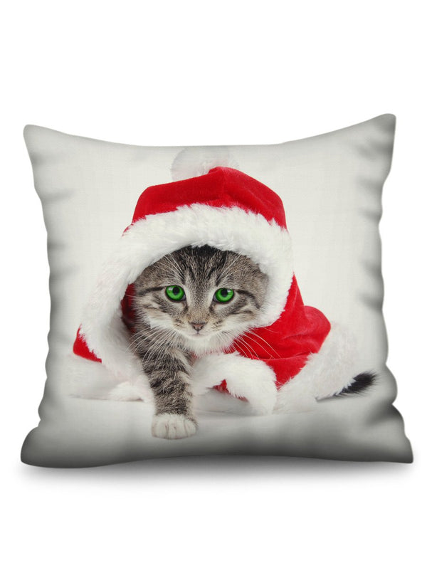 Christmas Cat Pattern Throw Pillow Case