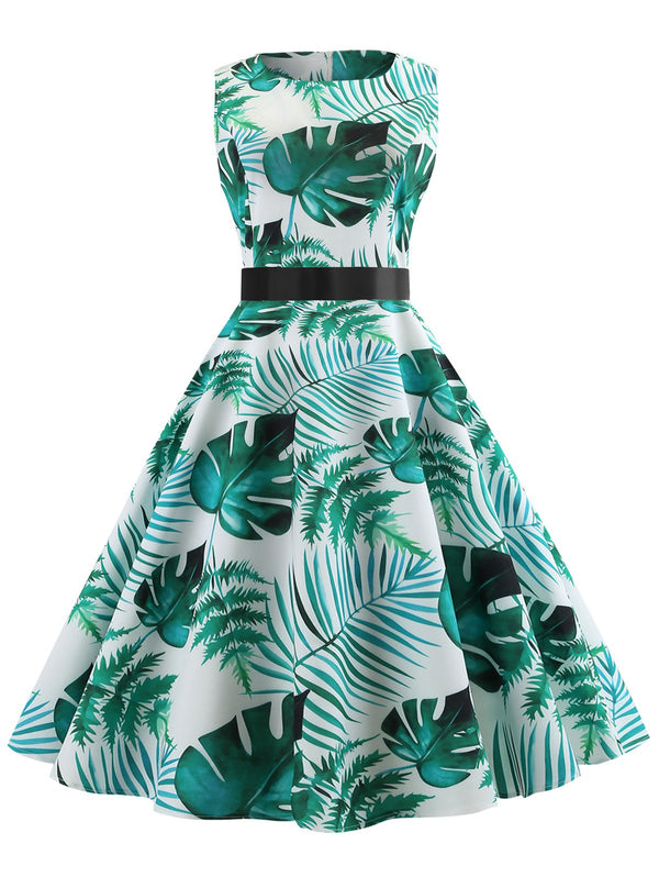 Leaves Pattern Sleeveless A Line Dress