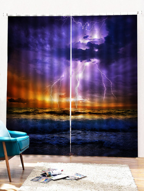 2PCS Lightning Design Window Curtains
