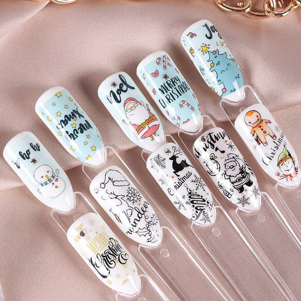 Snowflake Color Christmas Tree Nail Manicure Sticker 30pcs