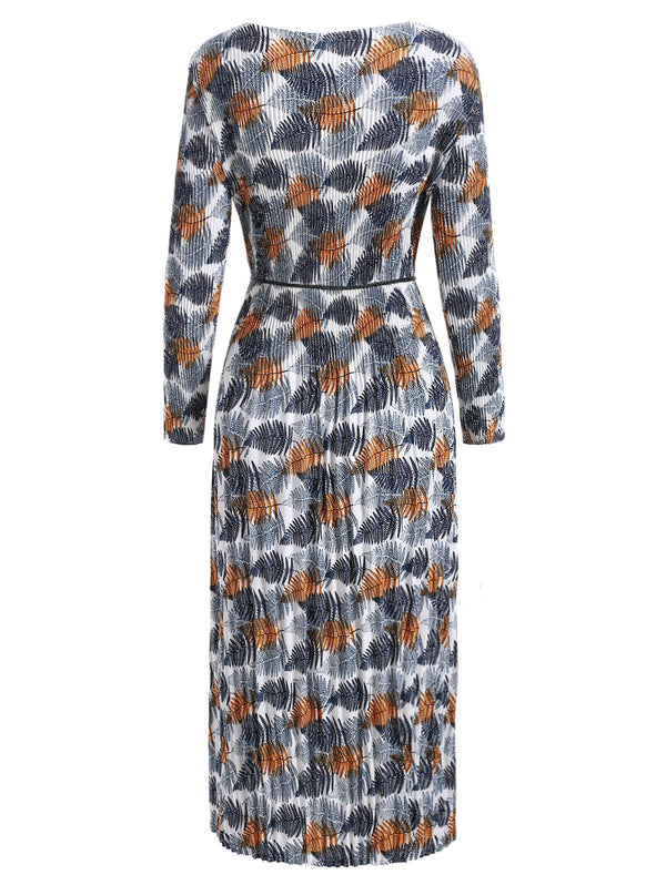 Pleated Leaves Print Long Sleeve Dress