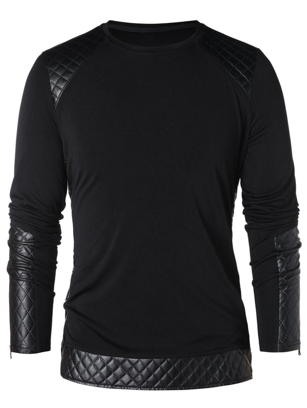 PU Leather Zipper Long Sleeve T-shirt
