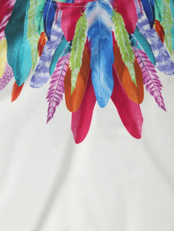 Multicolor Feather Print Short Sleeves Tee