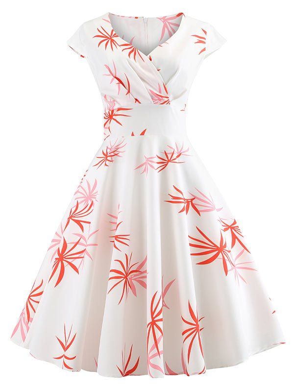 Wrap Leaves Print Flare Dress