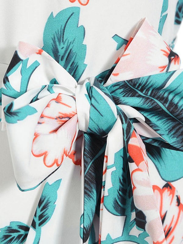 Belted Leaves Print Cap Sleeve Dress