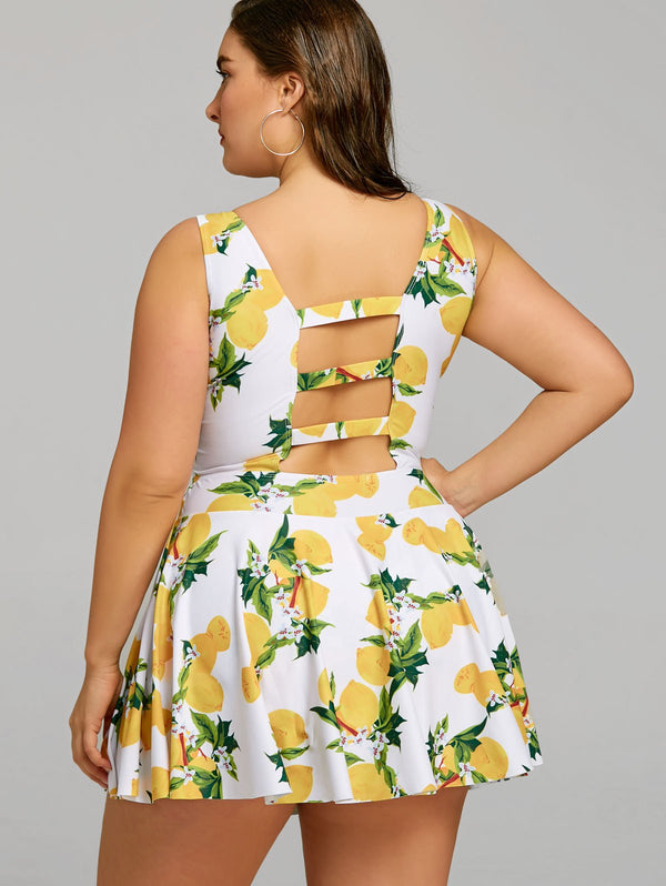 Lemon Print Plus Size Cutout Swimwear