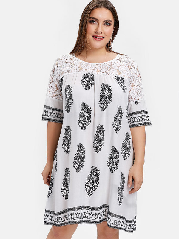 Plus Size Leaves Print Knee Length Dress