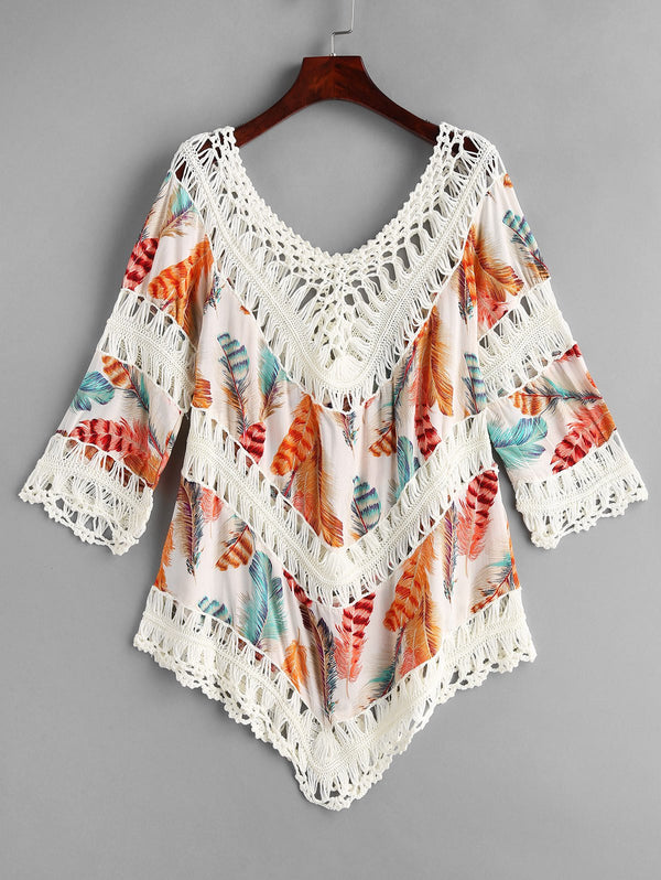 V Neck Openwork Feather Print Cover Up