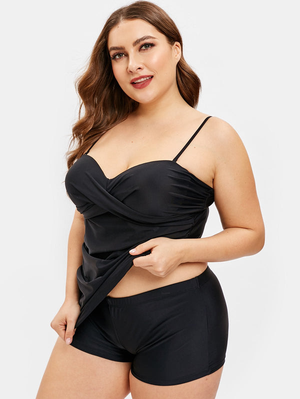 Underwire Plus Size Criss Cross Tankini Set