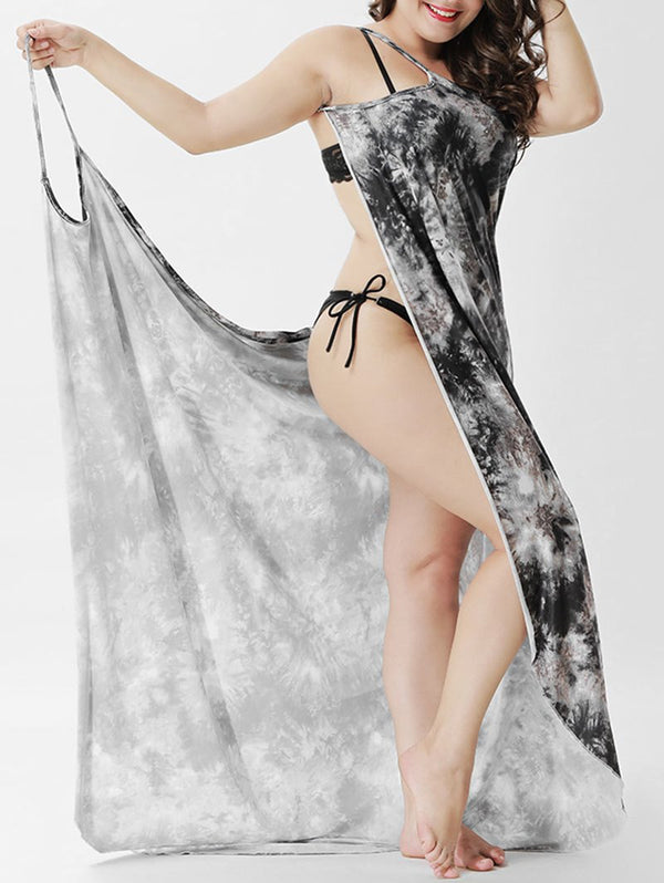 Plus Size Tie Dye Wrap Cover Up