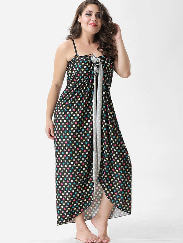 Plus Size Polka Dot Wrap Cover Up