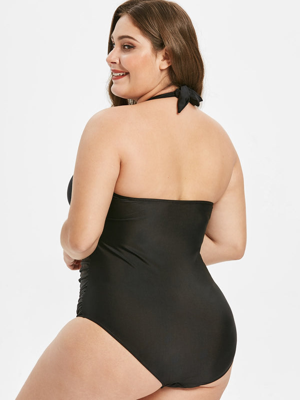 Plus Size Halter Neck Ruched One Piece Swimsuit