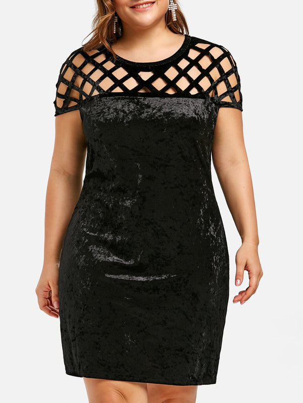 Velvet Plus Size Bodycon Dress Cut Out