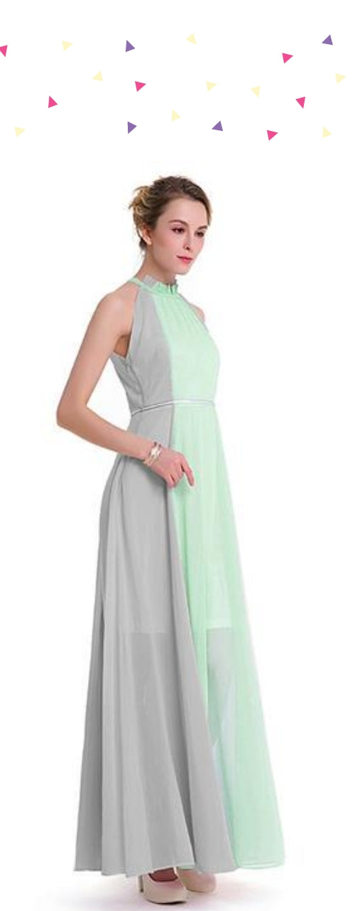 Hang Neck Sleeveless Chiffon Dress