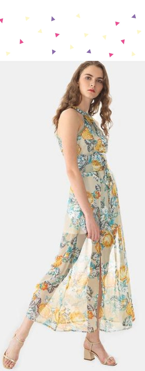 Halter Floral Print Chiffon Dress