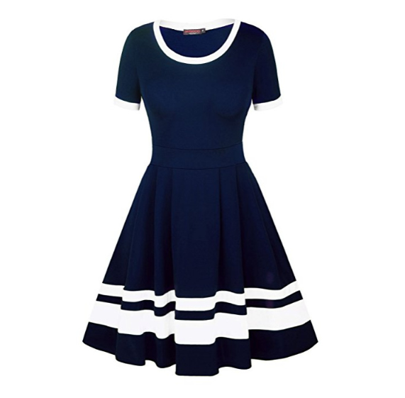 Sailor Collar High Waist Dress