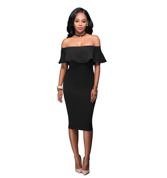 Off The Shoulder Scalloped Sheath Dress