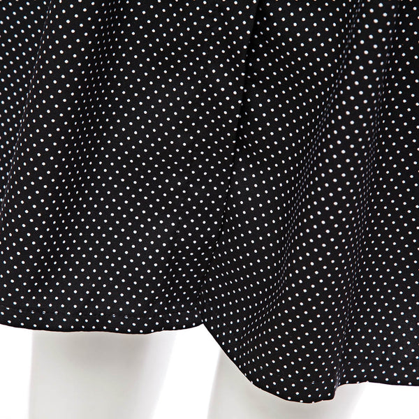 Chic Stand Collar Long Sleeve Dot Print Button Design Lace-Up A-Line Mini Dress for Ladies