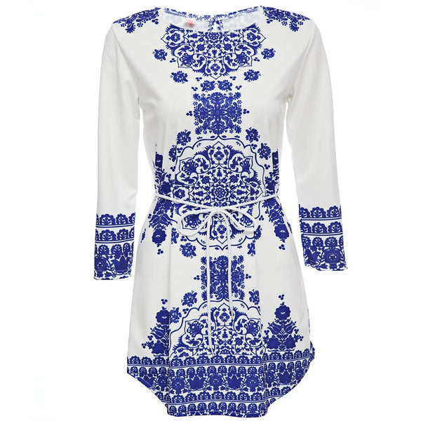 Vintage Jewel Collar Long Sleeve Printed Mini Dress for Ladies