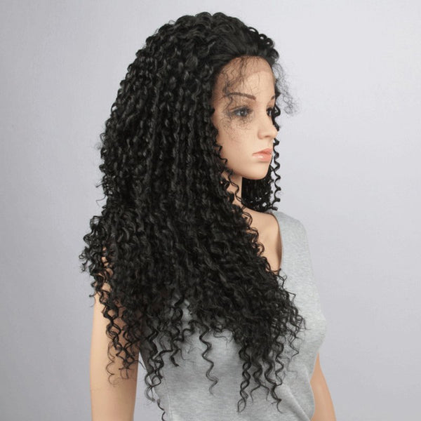 Trendy Black Long Synthetic Fluffy Kinky Curly Lace Front Wig For Women