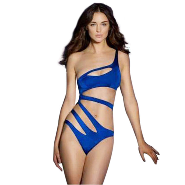 Sexy One Shoulder Pure Color Cut Out Bandage Monokini for Women