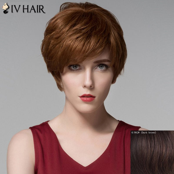 Shaggy Wavy Side Bang Noble Short Capless Real Natural Hair Wig For Women