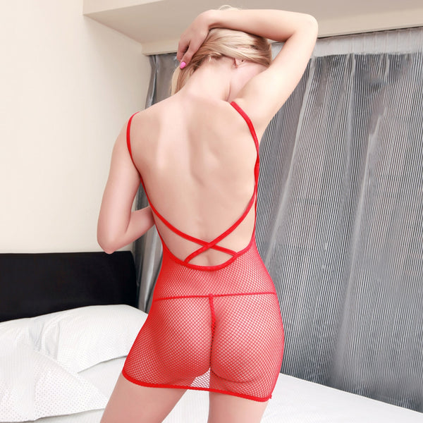 Sexy Spaghetti Strap Mesh Design Bowknot Pure Color Babydoll with T-Back for Women