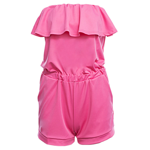 Sexy Tube Top Off-the-shoulder Mid Elastic Waist Pure Color Romper for Women