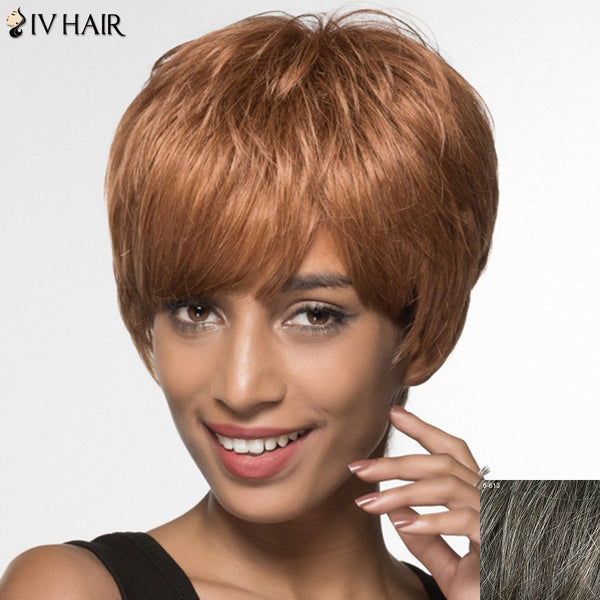 Shaggy Siv Hair Side Bang Short Human Hair Women's Wig
