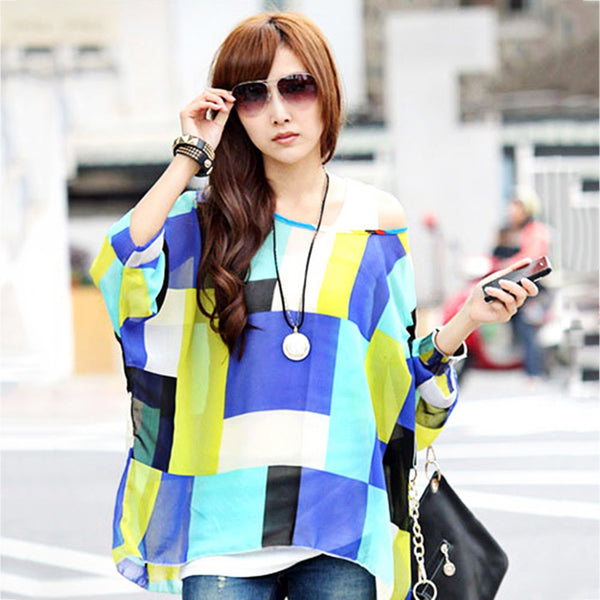 Trendy Round Collar Three Quarter Batwing Sleeve Color Block Loose Asymmetric Chiffon Blouse for Wom