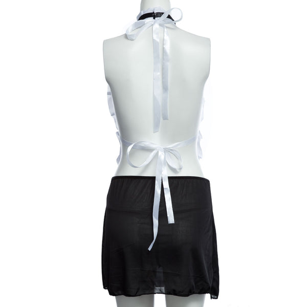 Sexy Backless Halter Color Block Maid Costume for Women