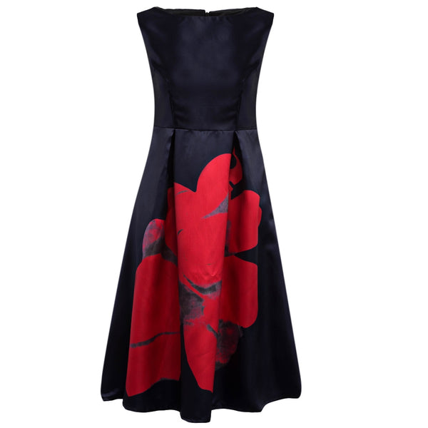 Elegant Round Collar Sleeveless A-Line Floral Print A-Line Dress for Women