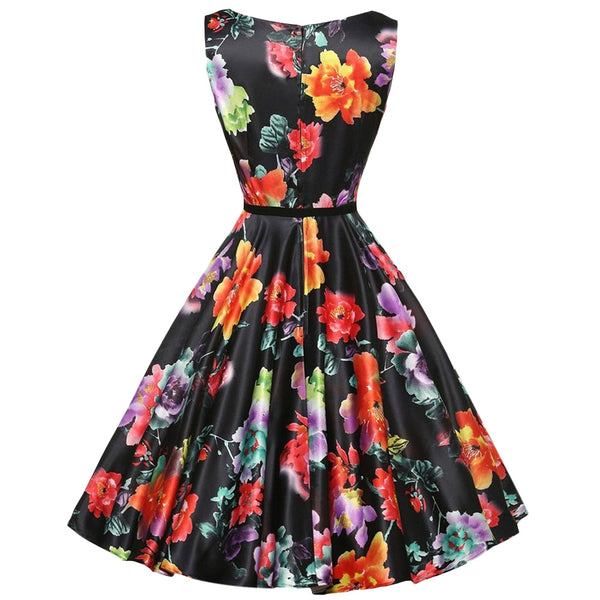 Retro Round Collar Sleeveless Back Zipper Floral Print Ball Gown Mid-calf with Belt Dress for Women