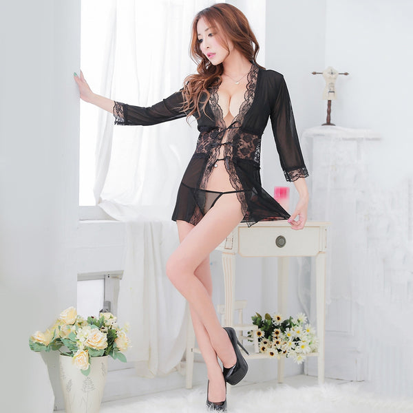 Sexy Collarless 3/7 Sleeve Lacework Black Panties for Women